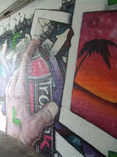 Spraypaint art at the entrance to Intalyo, off St Neots High Street in August 2011
