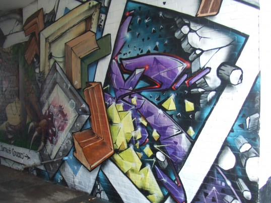 Spraypaint art at the entrance to Intalyo, off St Neots High Street