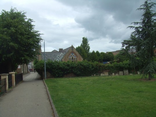 Looking towards the Welfare Hall in Church Walk, St Neots, in May 2011 - before the building work starts in the old playground area