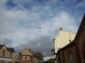 A pair of trainers hung from the telephone cables just outside the museum in New Street, St Neots for many years, photo taken in October 2008