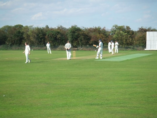 Playing cricket at Eaton Socon Cricket Club on a sunny summers afternoon, off Peppercorns Lane in August 2011