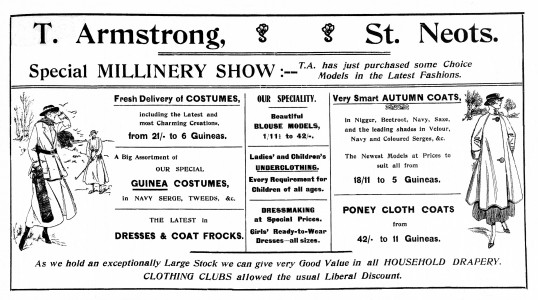 Advert in the St Neots Advertiser for a Millinery Show in St Neots at T. Armstrong in St Neots Market Square, September 1916