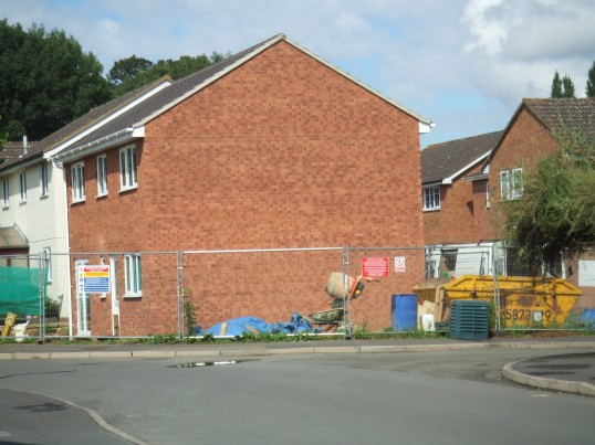Close up view of new house in Collingwood Rd built on land next to 58 Collingwood Rd, Eaton Socon in August 2011