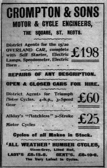 Advert for Crompton & Son Motor & Cycle Engineers in 1915, on the present site of Iceland, formerly Woolworths on the north side of St Neots Market Square