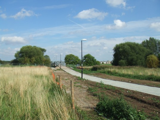 View of Willow Bridge and its pathway from Shakespeare Rd, Eaton Socon just before being surfaced (21st Aug 2011)
