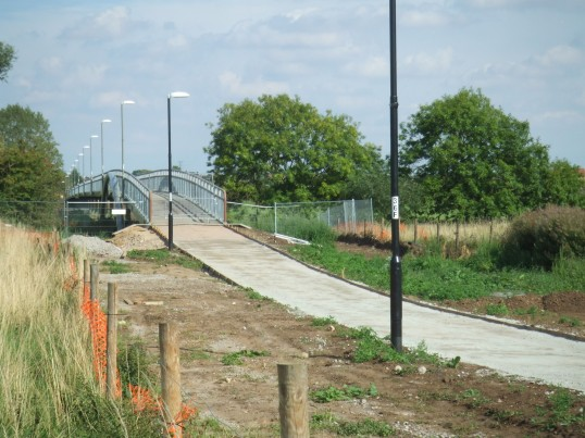 View of Willow Bridge just before the pathway from Shakespeare Rd in Eaton Socon is surfaced in August 2011