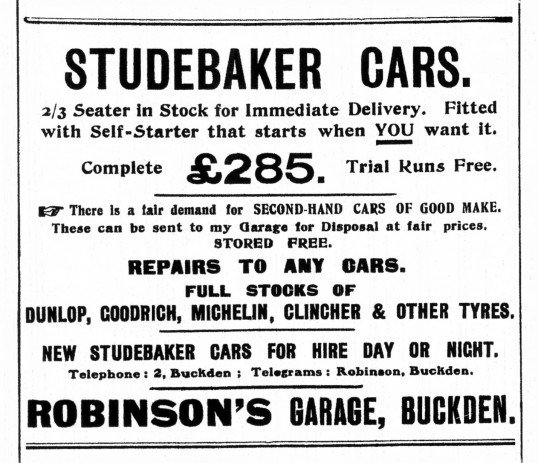 Advert for Studebaker and second hand cars at Robinson's Garage at Buckden in October 1916