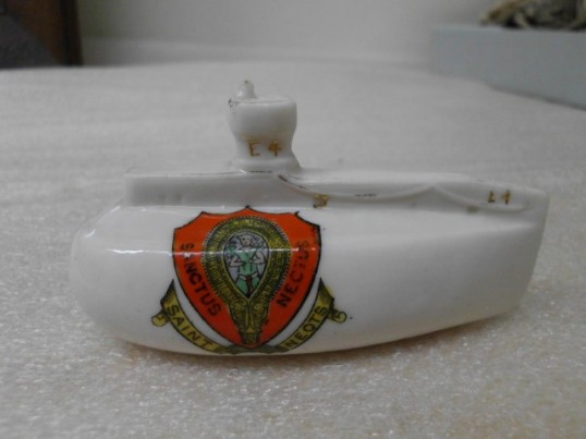 Swan china submarine sold in Larkinsons, St Neots, around 1917 and now in the Collection of the Australian National Maritime Museum reproduced courtesy of the museum