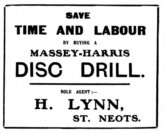 Advert for equipment from H. Lynn's shop at 32 St Neots High Street from St Neots Advertiser, November 1916