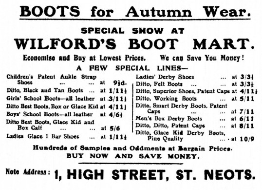 Wilford's Boot Mart at 1 High Street, St Neots - advert in St Neots Advertiser, November 1916