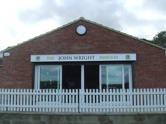 The John Wright Pavilion at Eaton Socon Cricket Club, named in September 2011