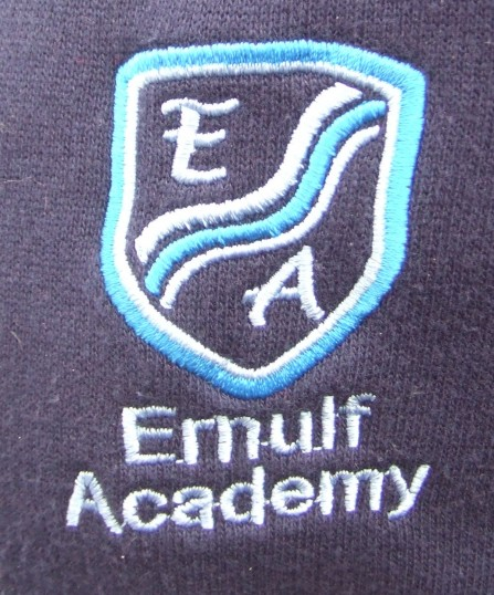 The new school badge on a new jumper for Ernulf Academy in Eynesbury in September 2011