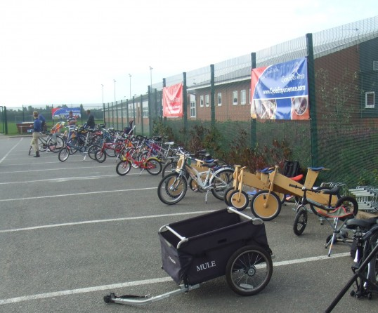 Try a bike at the Cycle Experience Day at Ernulf Academy in September 2011 - to celebrate the opening of the new Willow Bridge between Eaton Socon and Eynesbury