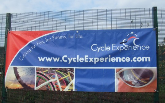 Cycle experience banner at the Cycle Experience day at Ernulf Academy in Eynesbury in September 2011