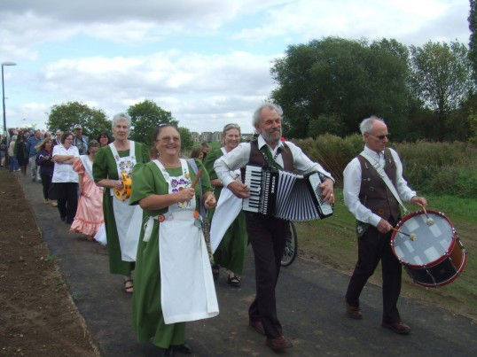 Heartsease leading the procession along the path after the official opening of Willow Bridge across the River Great Ouse on 21st September 2011