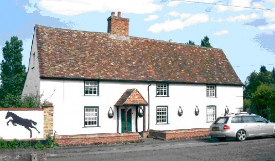 Former Queens Head in Wyboston, in November 2008, note the painted horse on the wall