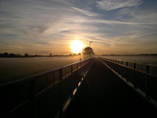 An early morning view going across the new cycle and footbridge - Willow Bridge linking Eaton Socon and Eynesbury in Sep 2011 (Chris MacKay)
