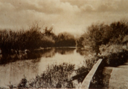 View from Five Arches bridge in Eaton Socon along the River Great Great Ouse in the 1950s