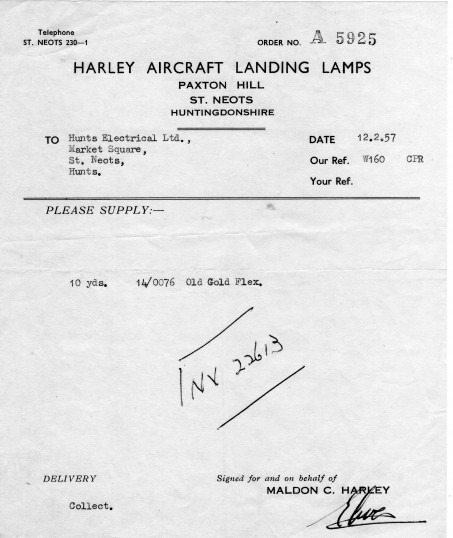 Receipt from 'Harley Aircraft Landing Lamps' at Paxton Hill, Great Paxton in February 1957