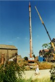 Demolition of the chimney at Paine's Flour Mill in Bedford Street, St Neots around 1991