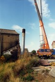 Demolition of the chimney at Paine's Flour Mill in Bedford Street, St Neots, around 1991