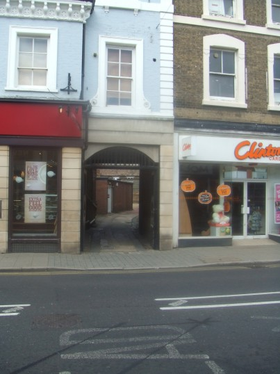 Yard between Costa Coffee and Clinton cards in St Neots High Street in October 2011