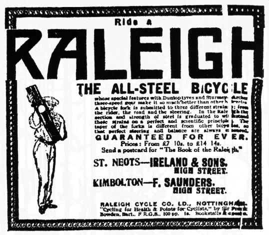Advert for Raleigh Bicycles from Ireland and Sons, High Street, St Neots - St Neots Advertiser Mar 1917