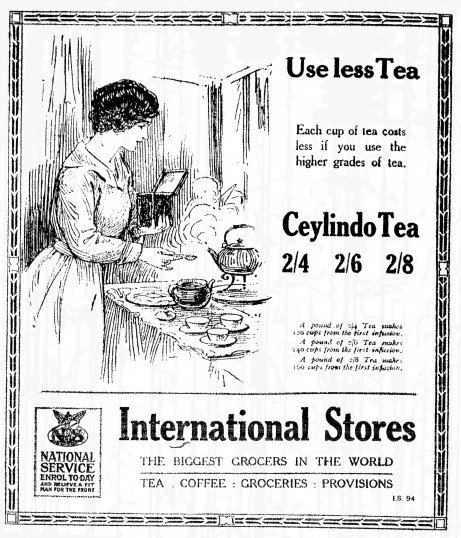 International Stores, St Neots High Street, advert in the St Neots Advertiser March 1917