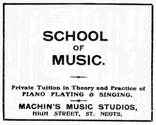 Advert for Machin's school of music in St Neots High Street in the St Neots Advertiser, dated March 1917