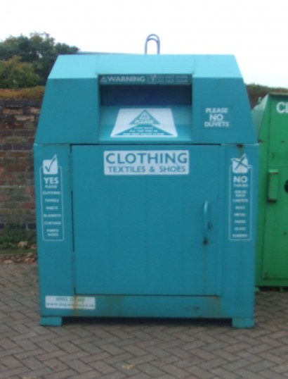 The new textile recycling bank at Tesco Express, Great North Rd, Eaton Socon, supplied by Huntingdon District Council in November 2011