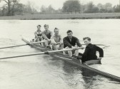 Members of the St Neots Rowing Club rowing on the River Great Ouse in the Ouse Queen, after the official naming ceremony in April 1959 (photo from Oscar Chuter)