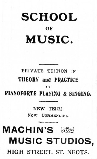 Advert for Machin's Music School in the High Street, St Neots, advert in St Neots Advertiser, dated July 1917