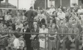 Grandstand on the Market Square at the 1953 St Neots Carnival (photo from Oscar Chuter)