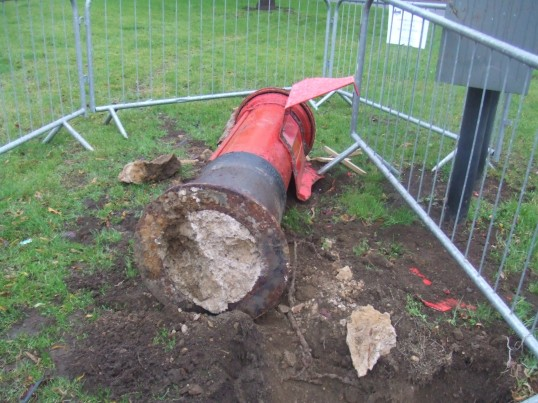Damaged Post box on Eaton Socon Village Green on 11th December 2011
