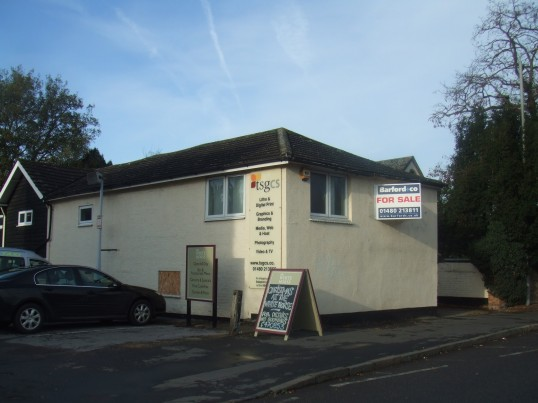 TSGCS, Soloprint printing premises up for sale in December 2011, next to the White Horse in Eaton Socon