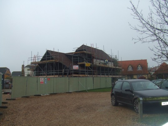 New Potton Timber framed house being built as a show home in Mill Lane, St Neots in November 2011