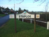 Festival of Britain village sign at Staploe in December 2011