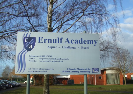 Ernulf Academy Sign, in January 2012, in Little Barford Rd, Eynesbury