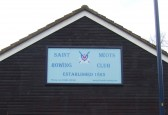 Sign on St Neots Rowing Club boathouse in St Neots in January 2012