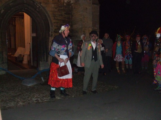 Singing an agricultural song before the dancing at the Plough Monday celebrations in Eaton Socon in January 2012
