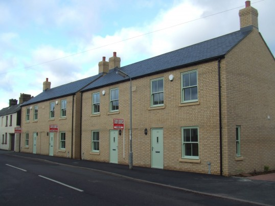 Completed new houses on the former Merry Boys Public House site in Berkely Street, Eynesbury in January 2012