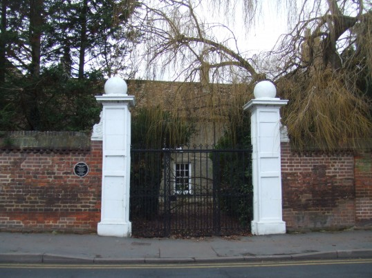 The gates to The Shrubbery in Church Street, St Neots, in January 2012. The small signs formerly on the gateposts have now gone.