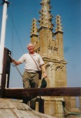 St Neots, St Marys Church - Rex Chuter at the top of the tower in 2003 - 72 years after he climbed it as a child in 1931.
