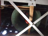 Little Paxton Church - one of the church bells in its new bell frame at the Tower Open Day in January 2012