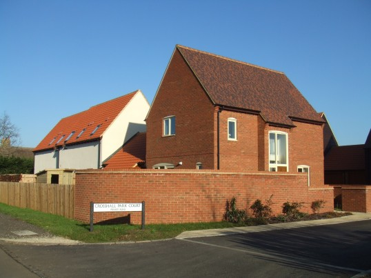 The new houses near Crosshall Manor on the Great North Rd in Eaton Ford - named Crosshall Park Court in February 2012