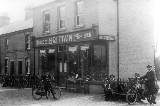 Brittains Furniture and Cycle Shop in 1908 at 66 St Neots Rd in Eaton Ford, built by Mr Howard for Frank Brittain, business started in 1904