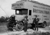 Brittains Thorneycroft lorry from shop in St Neots High Street in 1930 - extended by Archie who cut the chassis and put in extension made by Bennets.