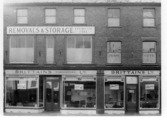Brittains Stores, St Neots High Street around 1950 (Brittains Furnishers Ltd formed in 1940)