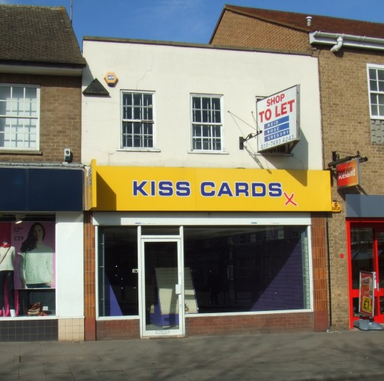 Kiss Cards shop in St Neots Market Square, closed in February 2012
