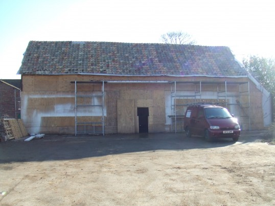 Barn at Crosshall Manor being modernised and altered to make a dwelling in February 2012